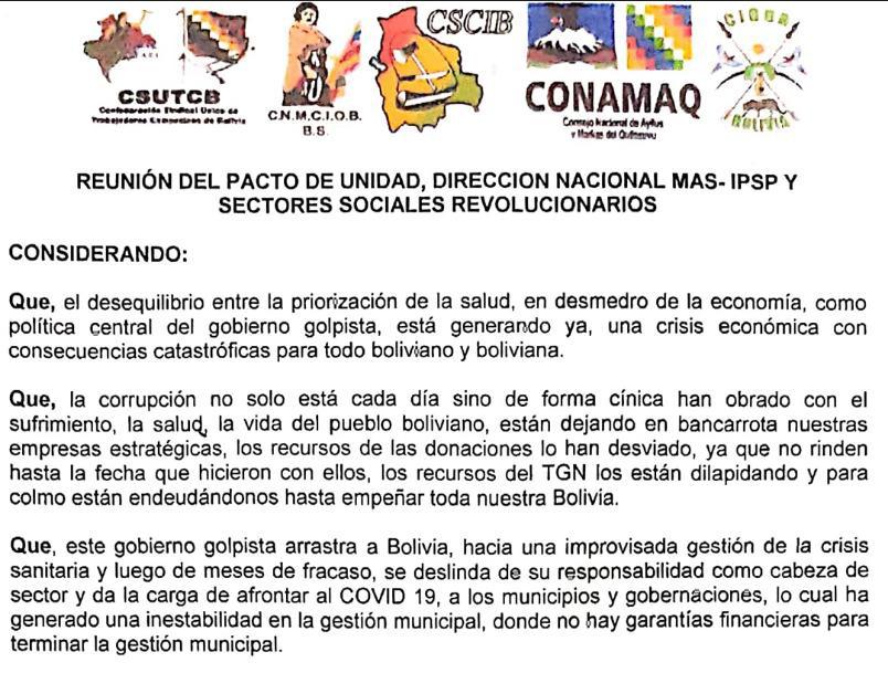Reunión del Pacto de Unidad, Dirección Nal. MAS y Sectores Sociales Revolucionarios